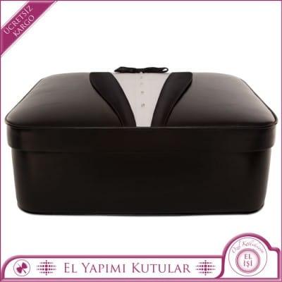 Şal Yakalı Siyah Smokin Tasarımlı Papyonlu Söz ve Nişan Damat Kutusu