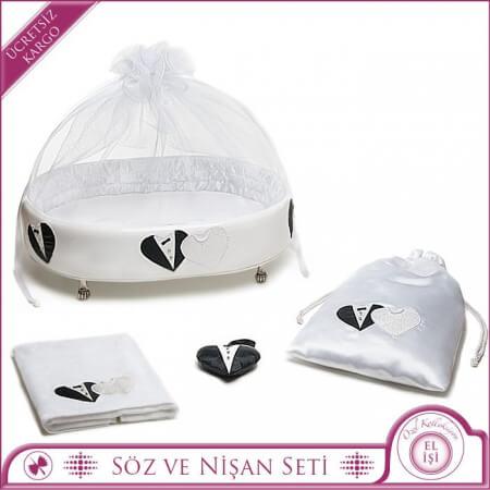 Gelin Damat Figürlü Beyaz Bohça Kutu Seti