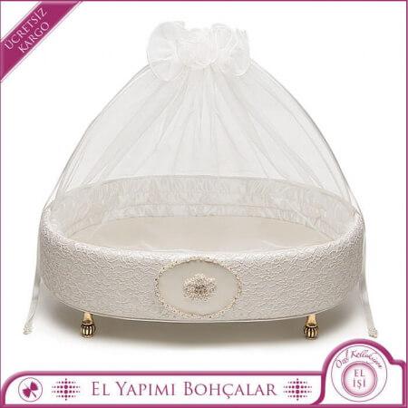 Oval Burma İnci Bordürlü Bohça Kutu